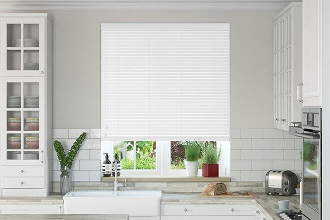 Charisma 35 Bright White - 35mm Slat Faux Wood Blind