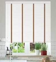 Charisma 35 White - 35mm Slat Faux Wood Blind Toffee Tape