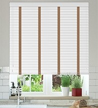 Charisma 50 Bright White - 50mm Slat Faux Wood Blind Toffee Tape