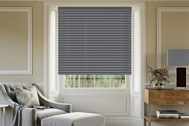 Morgan Dark Grey - 50mm Slat Wooden Blind