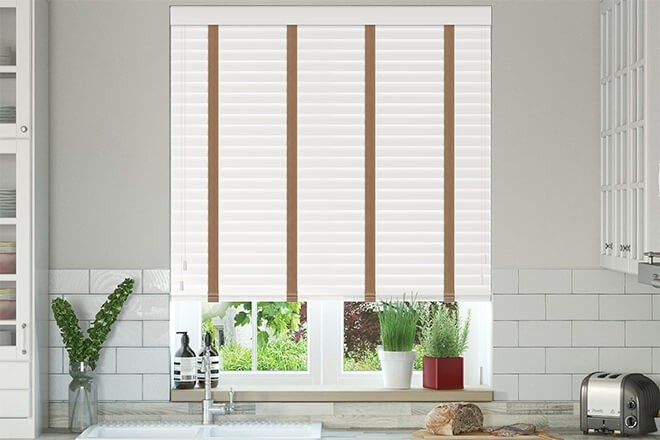 Charisma 50 White - 50mm Slat Faux Wood Blind Toffee Tape