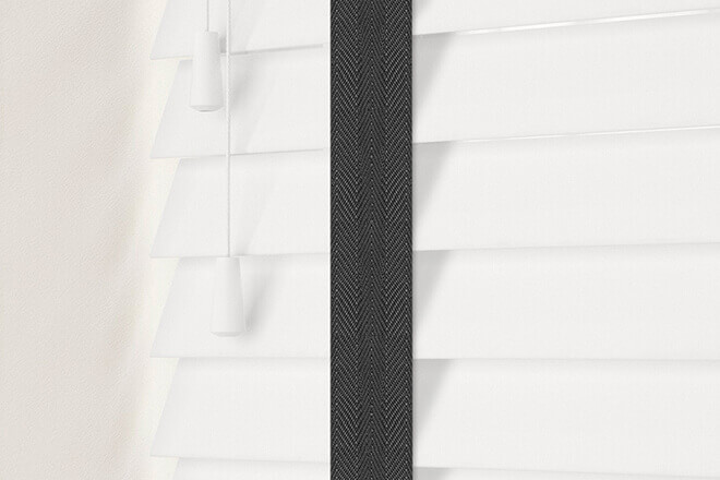 Charisma 50 White - 50mm Slat Faux Wood Blind Black Tape