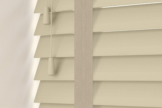 Charisma 50 Beige Fine Grain - 50mm Slat Faux Wood Blind Light Beige Tape