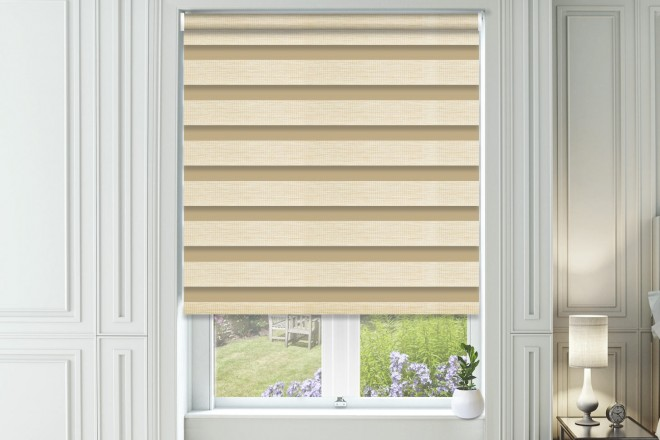Bliss Cream - Day and Night Blind with Box Weave Voile