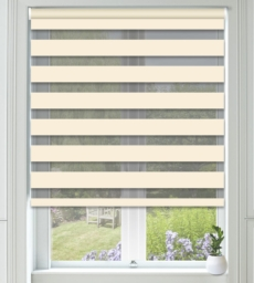 Bliss Ivory - Day and Night Blind with Box Weave Voile