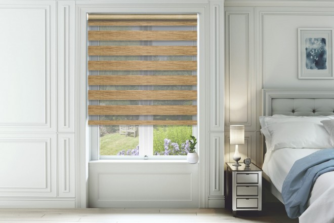 Bliss Latte - Day and Night Blind with Box Weave Voile