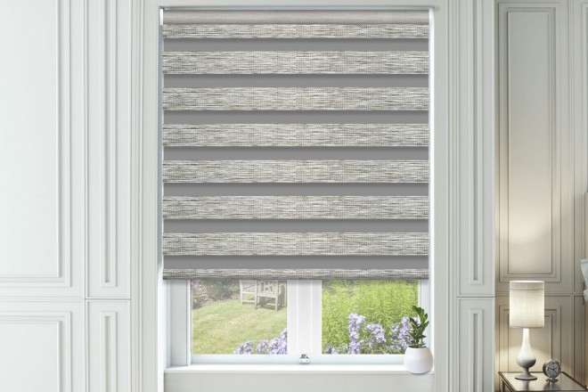 Bliss Stone - Day and Night Blind with Box Weave Voile