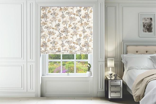 Blossom Ochre - Floral Pattern Roman Blind