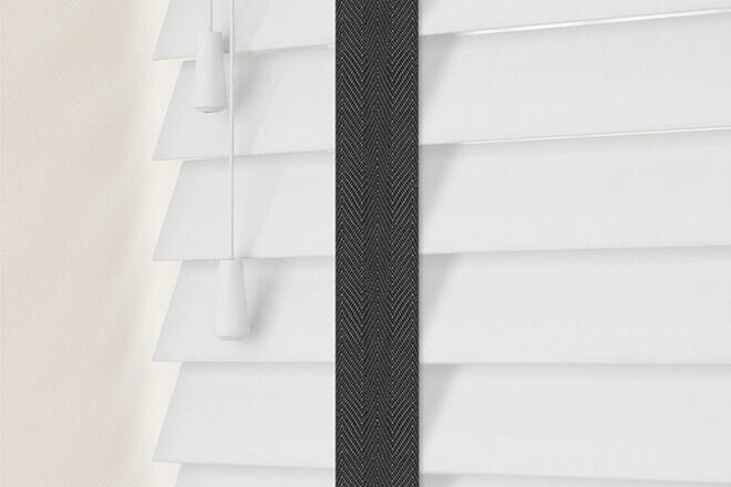 Charisma 50 Bright White - 50mm Slat Faux Wood Blind Black Tape