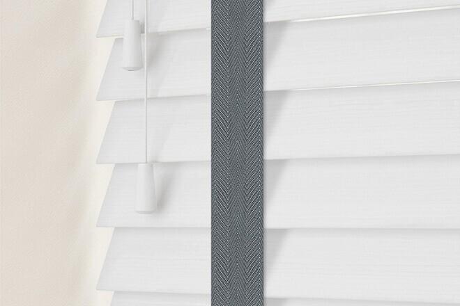 Charisma50 BW Fine Grain - 50mm Slat Faux Wood Blind Slate Tape