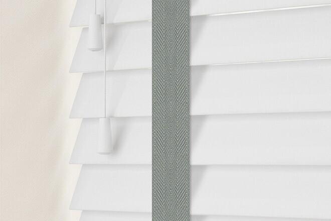 Charisma 50 Bright White - 50mm Slat Faux Wood Blind Flint Tape