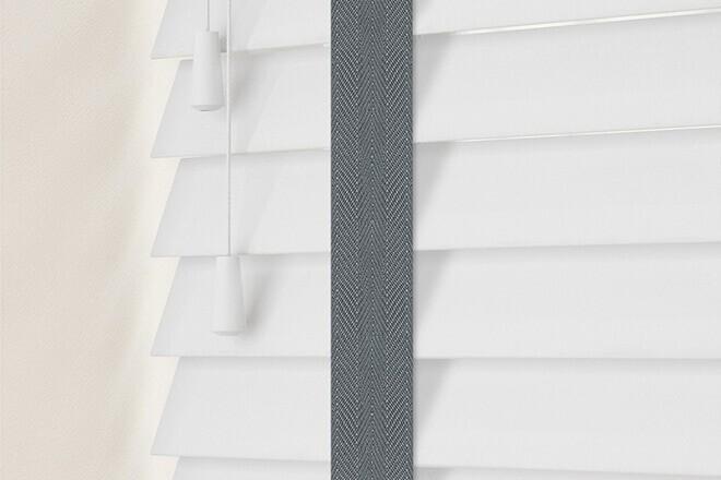 Charisma 50 Bright White - 50mm Slat Faux Wood Blind Slate Tape