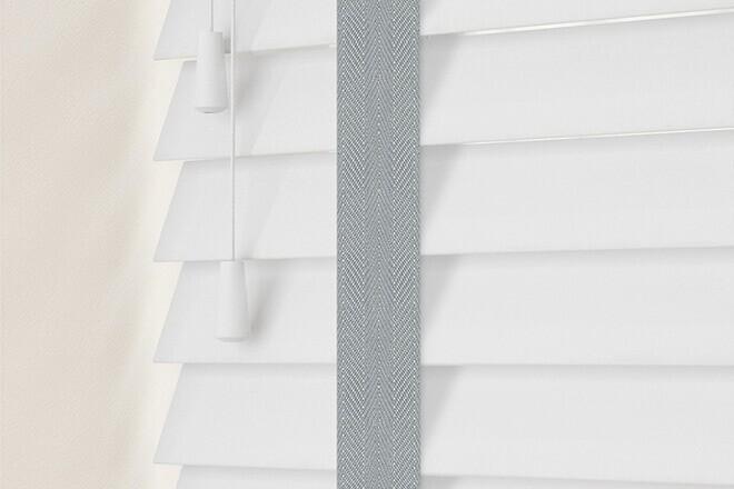 Charisma 50 Bright White - 50mm Slat Faux Wood Blind Steel Tape