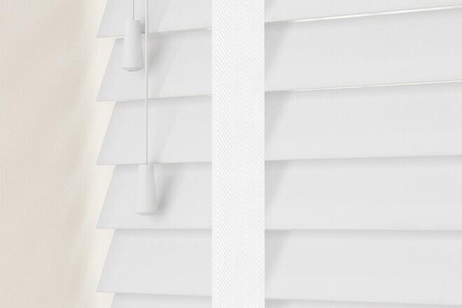 Charisma 50 Bright White - 50mm Slat Faux Wood Blind Super White Tape