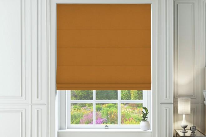 Capri Orange - Designer Herringbone Roman Blind