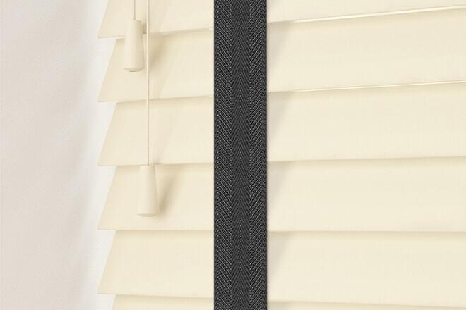 Charisma 50 Cream - 50mm Slat Faux Wood Blind Black Tape