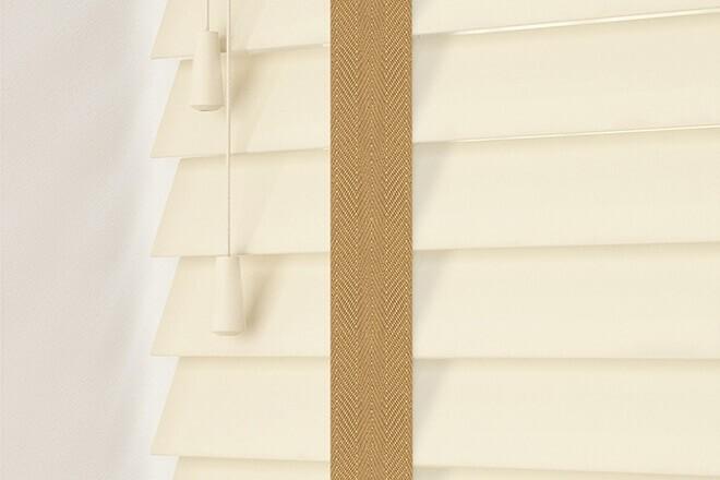 Charisma 50 Cream - 50mm Slat Faux Wood Blind Camel Tape