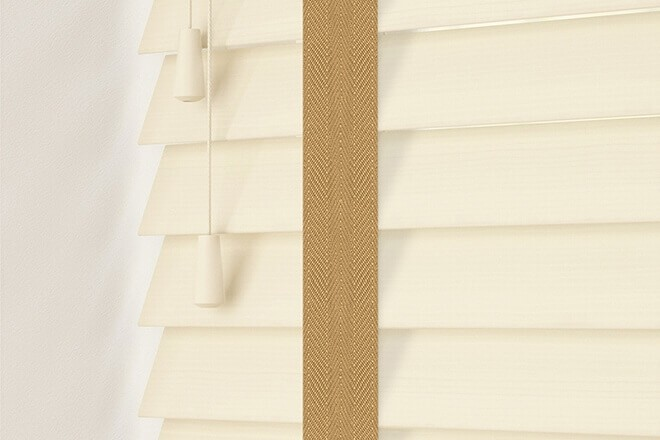 Charisma 50 Cream Fine Grain - 50mm Slat Faux Wood Blind Camel Tape