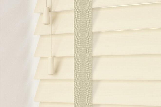Charisma 50 Cream Fine Grain - 50mm Slat Faux Wood Blind Ecru Tape