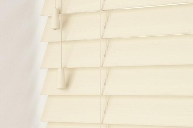 Charisma 50 Cream Fine Grain - 50mm Slat Faux Wood Blind