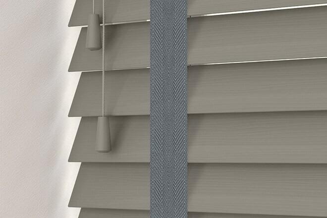Charisma 50 DG Fine Grain - 50mm Slat Faux Wood Blind Slate Tape
