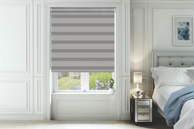 Home Grey with Matching Box Weave Day and Night Blind