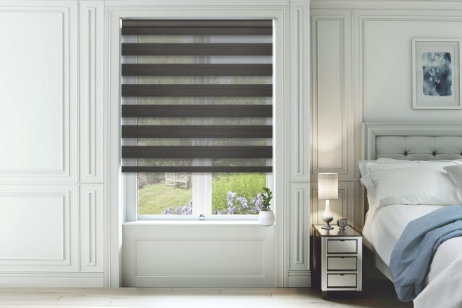Horizon Slate Grey - Day and Night Blind with Extra Fine Voile