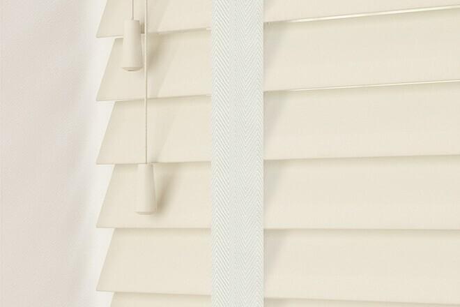 Charisma 50 Ivory - 50mm Slat Faux Wood Blind Chalk Tape