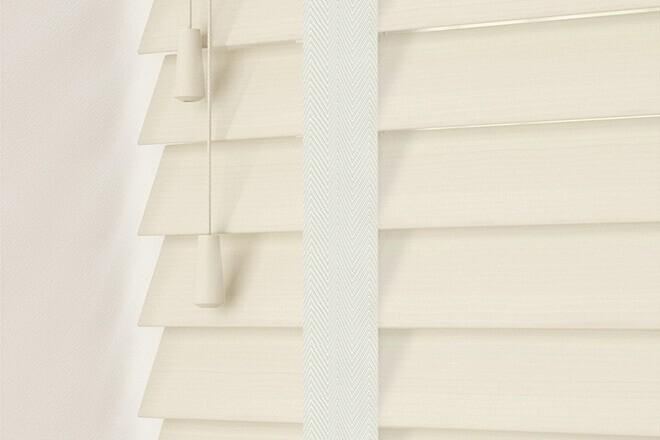Charisma 50 Ivory Fine Grain - 50mm Slat Faux Wood Blind Chalk Tape