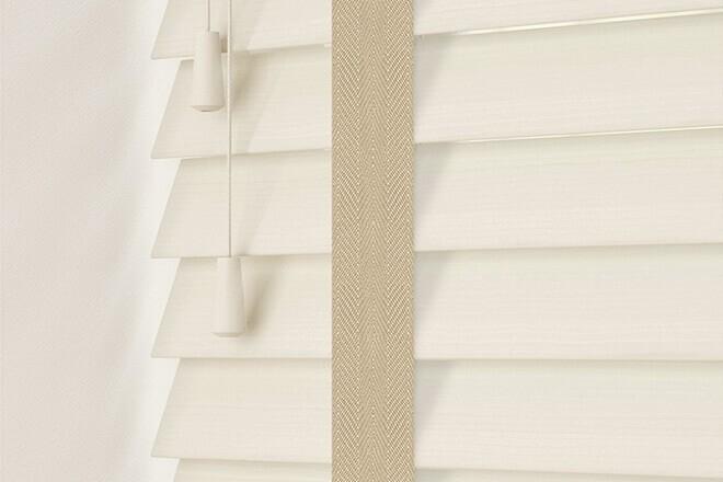 Charisma 50 Ivory - 50mm Slat Faux Wood Blind Hessian Tape