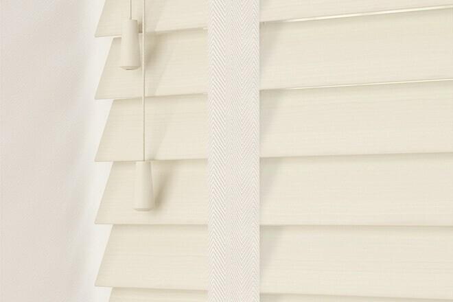 Charisma 50 Ivory Fine Grain - 50mm Slat Faux Wood Blind Vanilla Tape