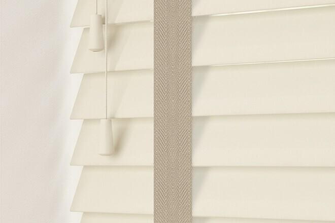 Charisma 50 Ivory - 50mm Slat Faux Wood Blind Light Beige Tape