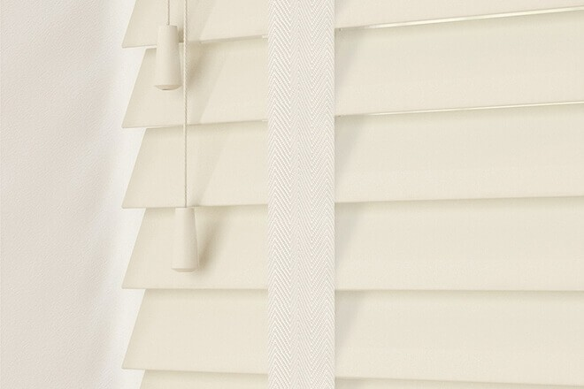 Charisma 50 Ivory - 50mm Slat Faux Wood Blind Vanilla Tape