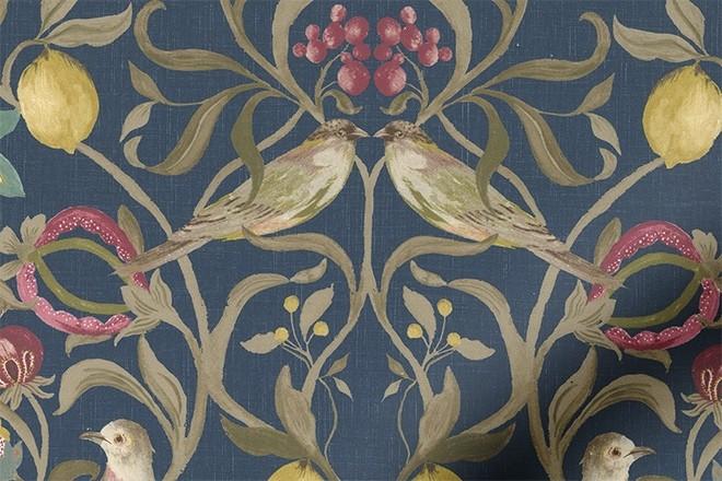 Joy Navy - Floral Pattern Roman Blind