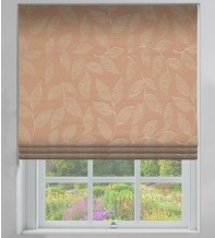 Leaf-Motif Coffee - Floral Printed Woven Roman Blind