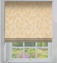 Leaf-Motif Cream - Floral Printed Woven Roman Blind