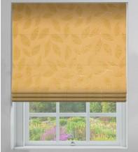 Leaf-Motif Gold - Floral Printed Woven Roman Blind