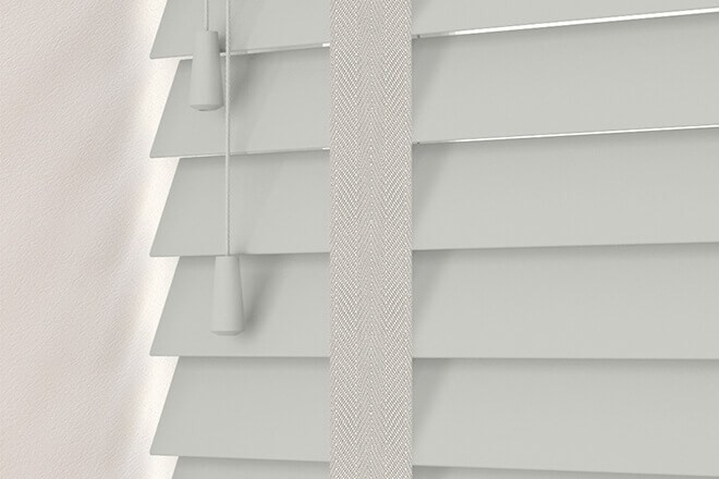 Charisma 50 LG Fine Grain - 50mm Slat Faux Wood Blind Dove Tape
