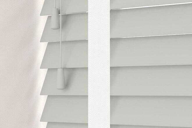 Charisma 50 LG Fine Grain - 50mm Slat Faux Wood Blind Super White Tape