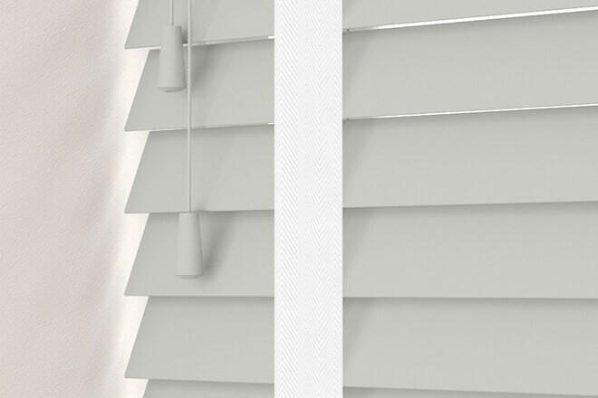 Charisma 50 Light Grey - 50mm Slat Faux Wood Blind Super White Tape
