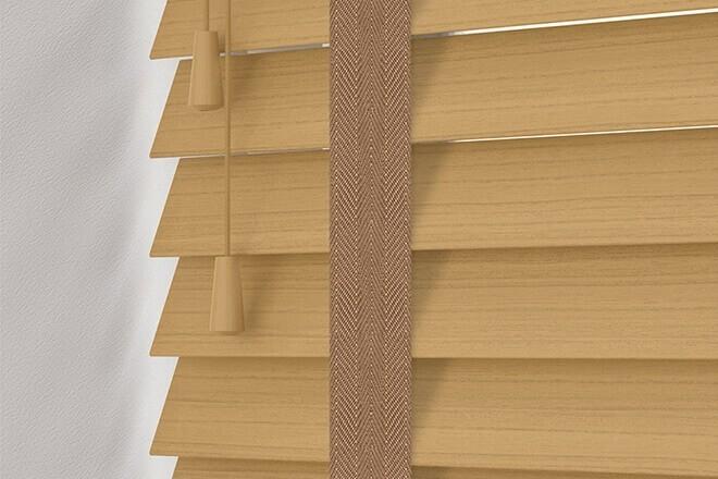Charisma 50 Light Oak - 50mm Slat Faux Wood Blind Toffee Tape