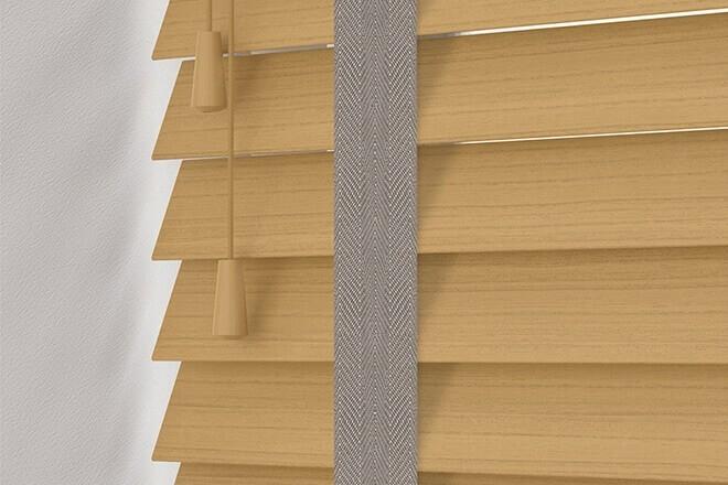 Charisma 50 Light Oak - 50mm Slat Faux Wood Blind Truffle Tape