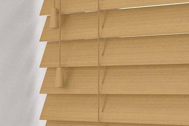 Charisma 50 Light Oak - 50mm Slat Faux Wood Blind