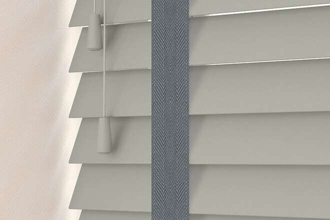 Charisma 50 Mid Grey - 50mm Slat Faux Wood Blind Slate Tape