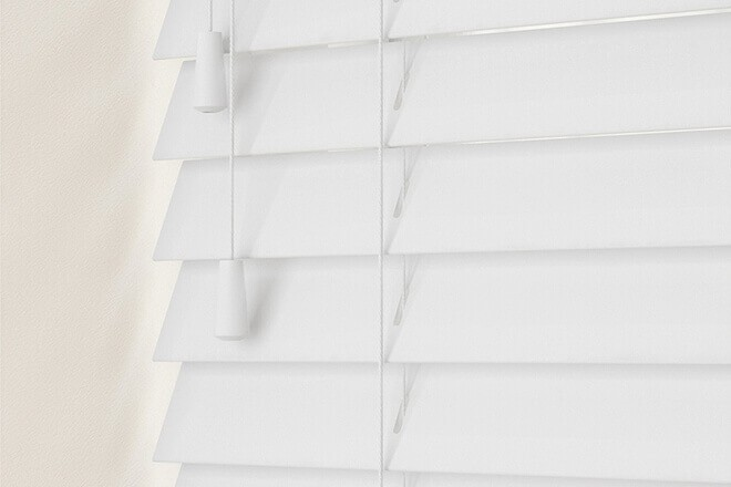 New England Chalk White Gloss - 50mm Slat Faux Wood Blind