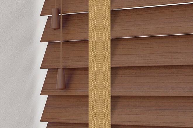 Charisma 50 Rich Brown - 50mm Slat Faux Wood Blind Camel Tape