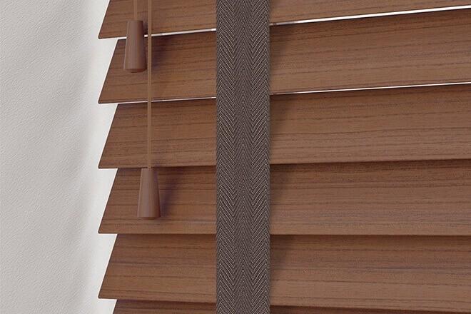 Charisma 50 Rich Brown - 50mm Slat Faux Wood Blind Coffee Tape