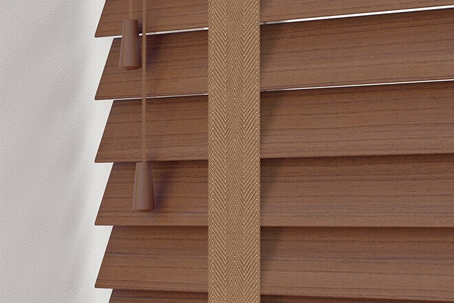 Charisma 50 Rich Brown - 50mm Slat Faux Wood Blind Toffee Tape