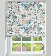 Spring Blue - Floral Pattern Roman Blind