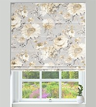 Spring Grey - Floral Pattern Roman Blind